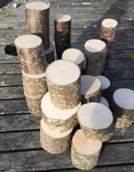 30 chunky mini log pieces for play